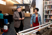 Curator and photographer Marcia E. Wilson with novelist Walter Mosley